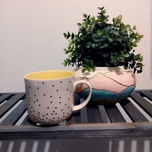 MUG SHOTZ | Peek a boo bunny polka dot coffee mug
